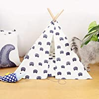 Yunyisujiao Canvas Pet Tent Bed,Folding Portable Cat Head Comic Washable Dog Tents & Pet Houses, Suitable For Indoor And Outdoor Use(send Storage Bags*white)