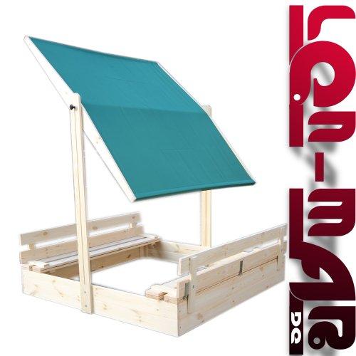 Sandkasten mit Dach, Deckel und Sitzbänken - NEU 140 x 140 S-3