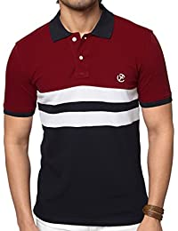 Zeyo Classic Polo T Shirts For Men With Collar 2-Block Regular Fit Red-Navy Half Sleeve