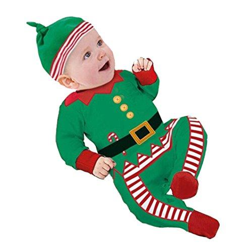 Kostüme Papa Und Baby (Infant Jungen Mädchen Outfits Kleider,Amcool Weihnachten Baby Strampler+ Hat +1pcs Spielzeug(6-12 Monate,)