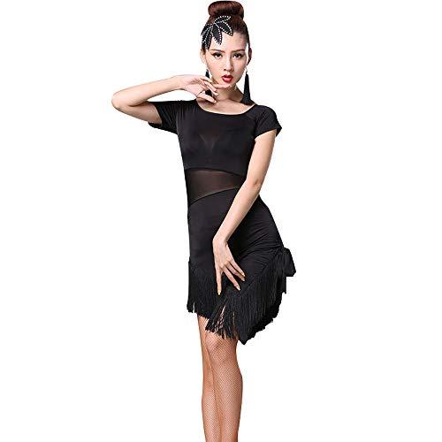 Dance Fringe Kostüm Jazz - GOWE Damen Mode Sexy Kleider - Kurzarm Fransen Latin Dance Kleid Salsa Samba Rumba Tango Ballsaal Performance Kostüme, Schwarz-Stil1/3XL