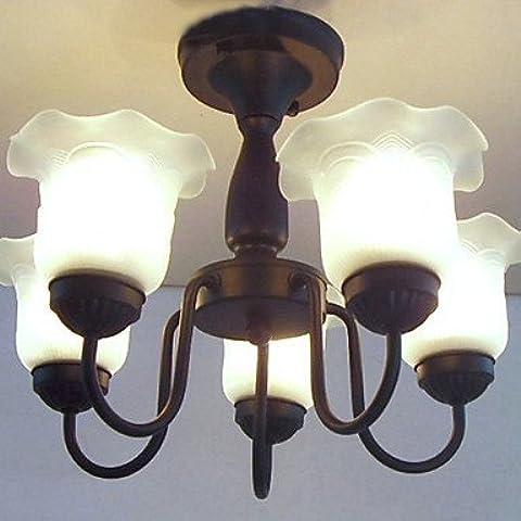 Floreale Lampadario Ombra, 5 Luce, pittura classica in metallo , 220-240V