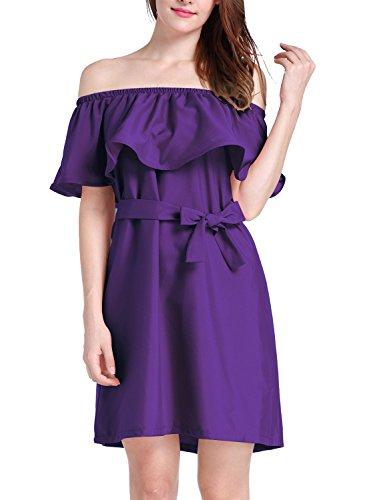 Futurino Frauen Mehrfarbig Colors Off The Shoulder Ruffle Shift Mini Kleid Purple