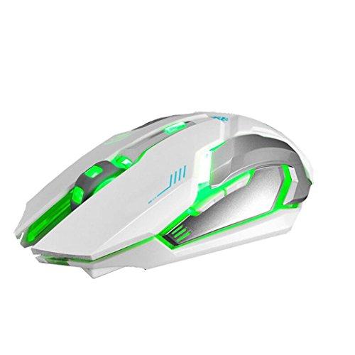 Preisvergleich Produktbild Bescita Wiederaufladbare Wireless Silent LED Hintergrundbeleuchtung USB Optisch Ergonomisch Gaming Maus mit USB Nano Empfänger für PC Laptop iMac MacBook Microsoft Pro,  Office Home (Weiß1)