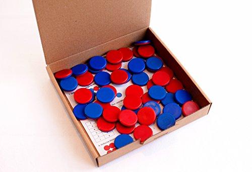 (spielend aktiv lernen! Wendeplättchen rot/blau 50 aus RE-Plastic - Schulqualität - Made in Germany im Karton)