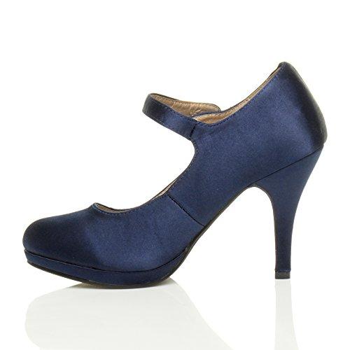 Mary Alto Escuro Do Cetim Salto De Elegantes Cinta Meados Bombas Sapatos Mulheres Azul Noite Jane Tamanho ZIqRg5x