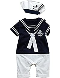 Baby Boy Navy Sailor Anchor Photo Props Costume Romper Hat 2-pc Outfit