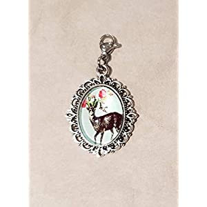 Charm ☘ Trachtenschmuck ☘ Hirsch, hellblau ☘ Anhänger ☘ Karabiner ☘ Bettelarmband ☘ Schlüsselanhänger ☘ Accessoires ☘ Oktoberfest ☘ Halskette