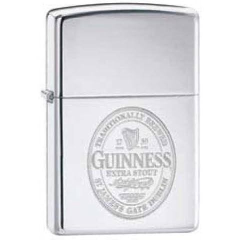 Accendino originale Zippo accendino Guinness Label cromo lucido