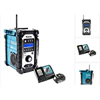 Makita DMR 104 Baustellen Radio Schwarz Grün DAB Digital + 1x BL 1850 18V - 5Ah Akku + 1x DC 18 RC Schnellladegerät
