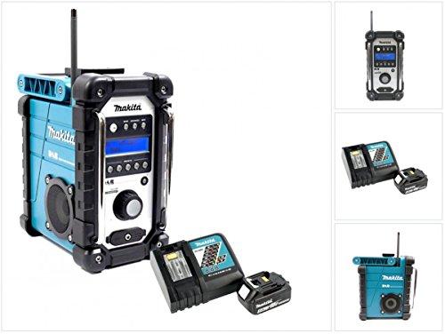 Preisvergleich Produktbild Makita DMR 104 Baustellen Radio Schwarz Grün DAB Digital + 1x BL 1850 18V - 5Ah Akku + 1x DC 18 RC Schnellladegerät