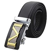Mens Genuine Leather Belts Automatic Buckle Belts Black Waist Strap -  Black -