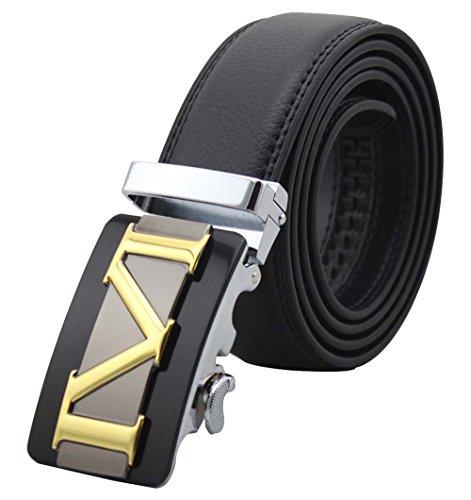 Da uomo vera pelle cinture automatico Fibbia Cinture Nero Cinturino in vita Black M 110cm