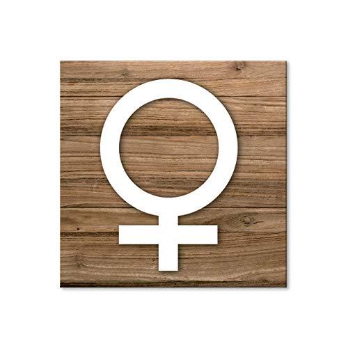 Logbuch-Verlag 1 WC Schild Frau Female Gender-Zeichen Toilette Damen selbstklebend Toilettenschild Türschild Holz-Optik braun weiß