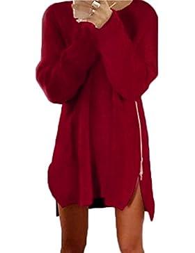 [Patrocinado]Minetom Mujer Manga Larga Jerséi Lateral Cremallera Redondo Suéter Jumper Tops Largo Prendas de punto Sweater...