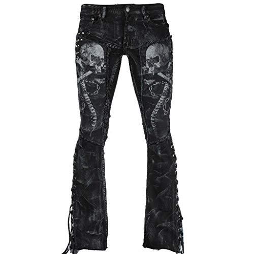 Fenverk Damen Jeans Hose Gerades Bein Dicke Naht Straight Alexa Skinny Jeanshose Onlkendell Eternal Ankle Black Noos Boyfriend Knopfleiste(Schwarz 2,L)