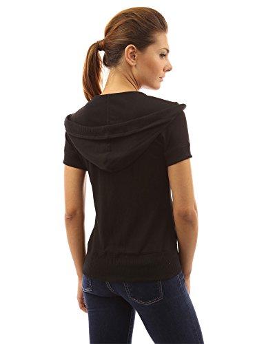 PattyBoutik Damen Kapuzenjacke mit Reißverschluss und kurzen Ärmeln Schwarz