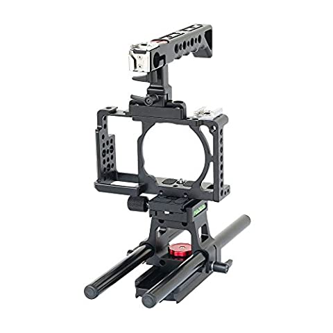 FILMCITY Video Cage Top handle with 15mm Rail Rod Support for SONY Alpha Mirrorless A6000 A6300 ILCE-6000 6300 NEX-7 Camera |Tripod Mount Cage (FC-A6360-CHRS)