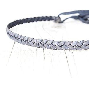 Haarband Leder geflochten // marine 'antik