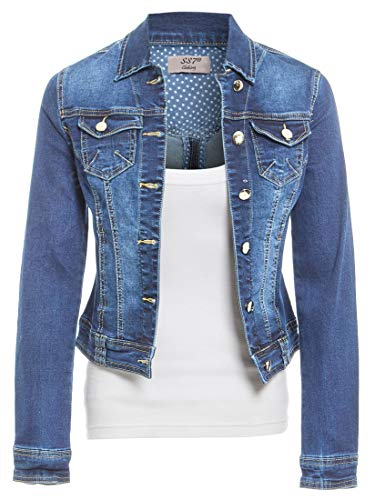 Womens Size 14 16 18 20 Stretch Denim Jacket Ladies Jean Jackets Mid Blue
