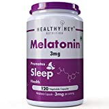 HealthyHey Nutrition Sleep Aid Melatonin 3mg, 120 vegetable capsules - Promotes Sleep