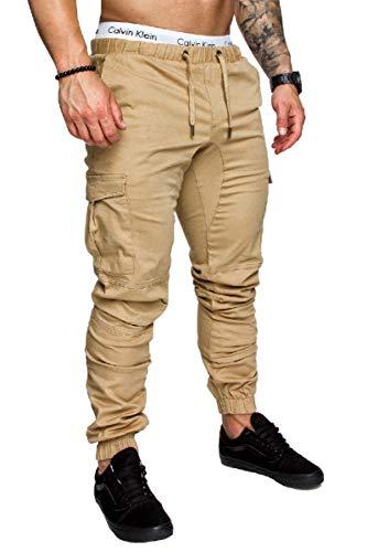 CuteRose Mens Drawstring Waistband Stretchy Slim Fit Harem Combat Pants Khaki 2XL Big And Tall Cotton Belt
