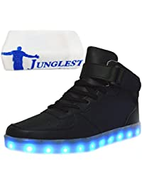 (Presente:peque?a toalla)Negro 42 Mujeres Blanco Negro Light colores Up LED 7 Unisex P5TH7Al