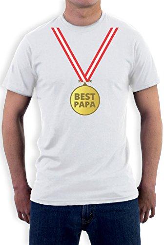 Präsent T-Shirt mit Gold Medaille - Bester Papa mit Auszeichnung T-Shirt Weiß
