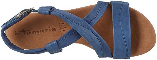 Tamaris Damen 28130 Offene Sandalen mit Keilabsatz Blau (DENIM 802)