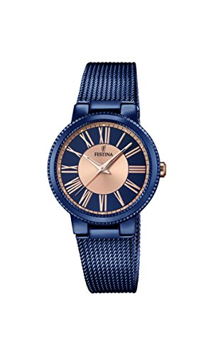 Festina BOYFRIEND Women's Quartz Watch with Multicolour Dial Analogue Display and Blue Stainless Steel Plated Bracelet F16967/1