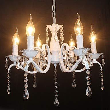Mao&Long Luz de techo, Luz ambiente de 6 luces de araña - Cristal, Mini estilo, Estilo de vela, Bombilla de 110-240 V no incluida / 5-10㎡ / E12 / E14