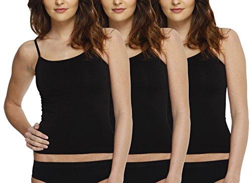 Yenita 3er Pack Damen Seamless Spaghetti Unterhemden, Trägertop aus Mikrofaser - Damen-mikrofaser-bügel-hemdchen