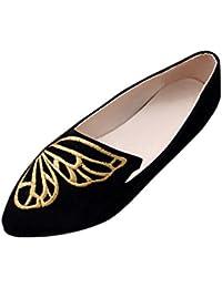 Damen Schuhe Dellin Sommer Mode Damen Wohnungen Bequeme Flache Stickerei  Schmetterling Wildleder Schuhe weiche Slip- a16dc0f78b