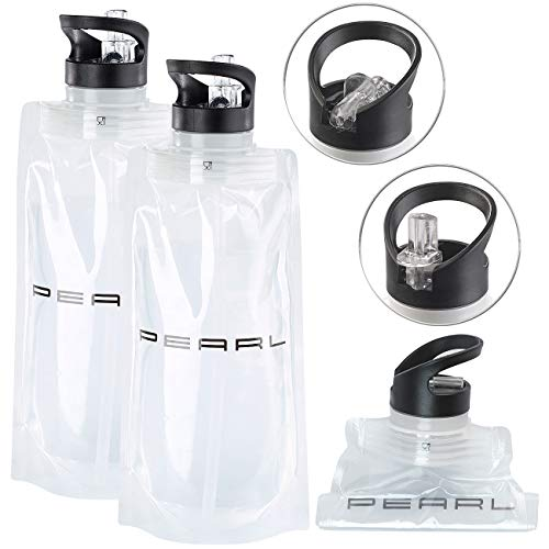 PEARL Falt-Trinkflasche: 2er-Set Faltbare Trinkflaschen, Trinkhalm, für Sport & Freizeit, 800ml (Roll-Trinkflasche)