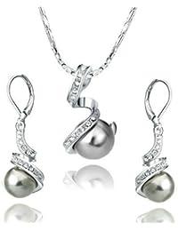 Yoursfs Chapado en Oro/platino Conjunto de Collar y Pendientes con Perla blanco/gris para Mujer