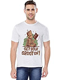 The Souled Store Guardians Of The Galaxy Volume 2: Groot On Superhero Graphic Printed LIGHT GREY MELANGE Cotton T-shirt for Men Women and Girls