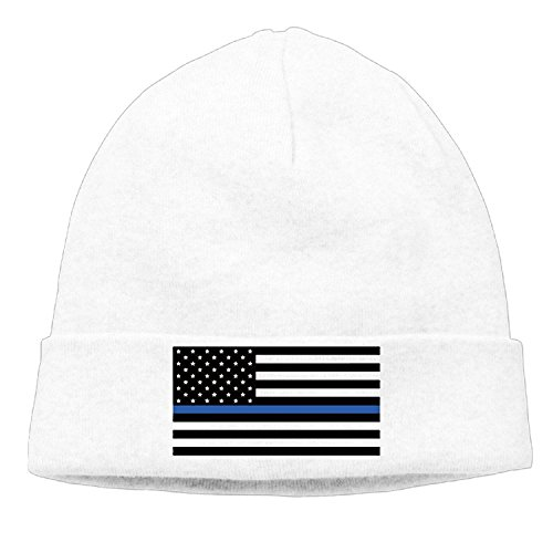 Support The Police Thin Blue Line American Flag Hedging Hat Wool Beanies Cap ()