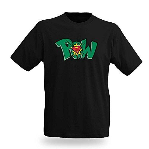 Superman POW Comic T-Shirt, bequemer Schnitt, lizenziert Schwarz