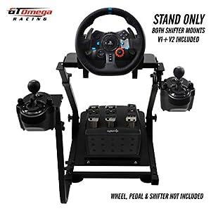 GT Omega Lenkradständer PRO für Logitech G29 Racing Wheel – Pedale & Schalthebelhalterung V1 – Unterstützung des Fanatec Clubsport PS4 Xbox – Neigungsverstellbares Design für Sim Racing-Erfahrung