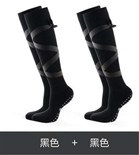 Mmengyuan Professionelle Yoga-Socken für Damen Hochlange, atmungsaktive Tanzsocken mit rutschfestem Riemen