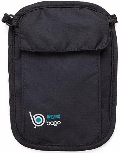 Bago Hidden Travel Wallet - Passport Holder RFID Safety - Neck Stash Belt Pouch