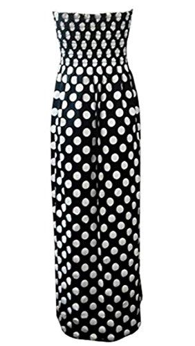 Damen Blumenmuster Bandeau Boobtube Sheering Maxi Kleid EUR Größe 36-54 Tupfen schwarz / weiß