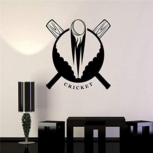 Mode Sport Vinyl Aufkleber Cricket Bat Ball Cricket Wandkunst Aufkleber Wandbild Für Kinder Room59X59Cm