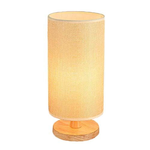 Zylindrische Mini-lampe (WPCBAA E27 Holztischlampe Schlafzimmer Nachttischlampe LED Hanf Garn Schatten, zylindrische Design Mini Tischlampe (Farbe : Cream Color))