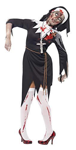 Smiffys, Damen Zombie-Nonne Kostüm, Kleid mit Latex Wunden, Roben Gürtel und Kopfteil, Größe: S, 38877