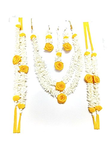 Flower Jewellery (Yellow & White), 6 Items Set for Women & Girls...