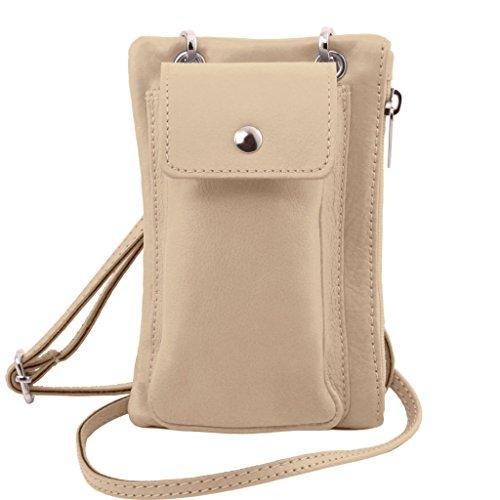 Tuscany Leather TL Bag Tracollina Portacellulare in pelle morbida Celeste Beige