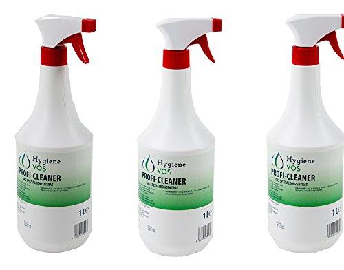HYGIENE VOS Profi Cleaner VOS-Spezialkonzentrat 3 x 1 Liter. Spezieller Reiniger für Wohnwagen, Wohnmobil, Caravan und Boote