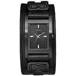 Guess - W85094G1 - Montre Homme - Quartz Analogique - Cadran Noir - Bracelet Cuir Noir
