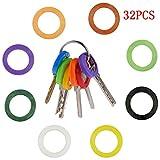 Tenlife 32 x Schlüsselkappen, Silikon, Schlüsselabdeckungen, Schlüsselring, Indikationskappe, verschiedene Farben